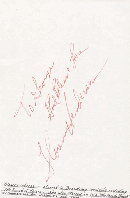 Image 1 for Florence Henderson - Autograph Note Signed - HFSID 25401
