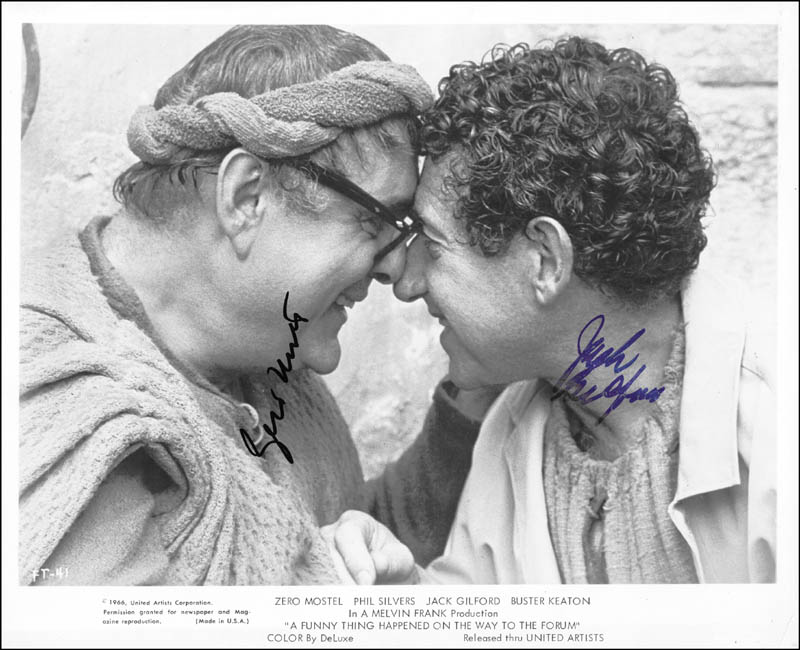 Image 1 for A Funny Thing Happened On The Way To The Forum Movie Cast - Autographed Signed Photograph Circa 1977 co-signed by: Jack Gilford, Zero Mostel - HFSID 254045