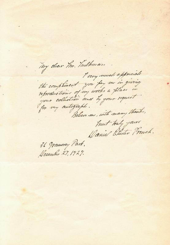 Image 1 for Daniel Chester French - Autograph Letter Signed 12/27/1929 - HFSID 254137
