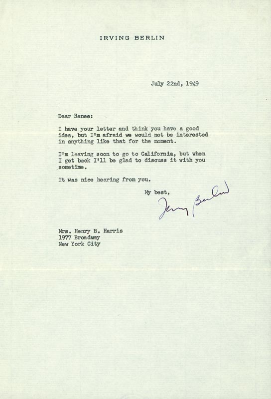 Image 1 for Irving Berlin - Typed Letter Signed 07/22/1949 - HFSID 254188