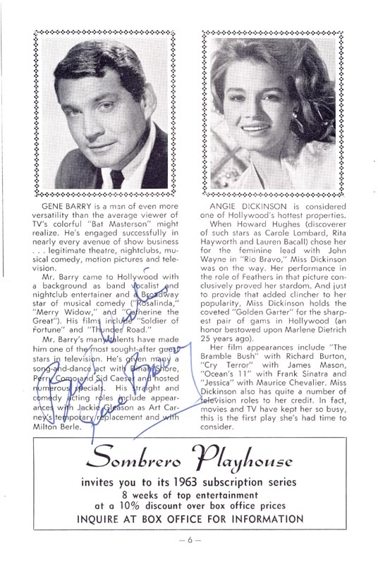 Image 1 for Gene Barry - Program Signed Circa 1962 - HFSID 254289