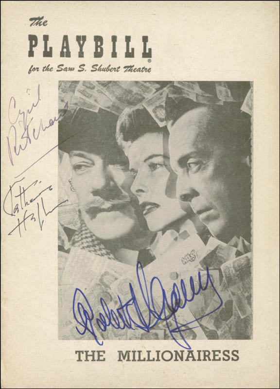 Image 1 for The Millionairess Broadway Cast - Show Bill Signed Circa 1952 co-signed by: Robert Helpmann, Cyril Ritchard, Katharine Hepburn - HFSID 254396