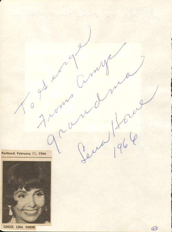 Image 1 for Lena Horne - Autograph Note Signed 1966 co-signed by: Joseph P. Wright - HFSID 25441