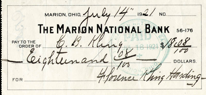 Image 1 for First Lady Florence K. Harding - Autographed Signed Check 07/14/1921 - HFSID 254440
