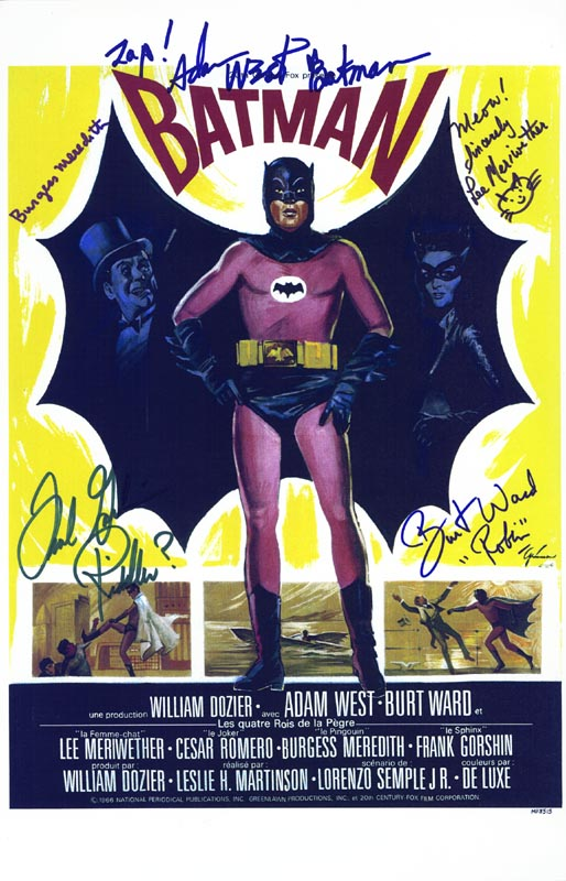 Image 1 for Batman TV Cast - Lobby Card Signed co-signed by: Burt Ward, Lee Meriwether, Burgess Meredith, Frank Gorshin, Adam West - HFSID 254500