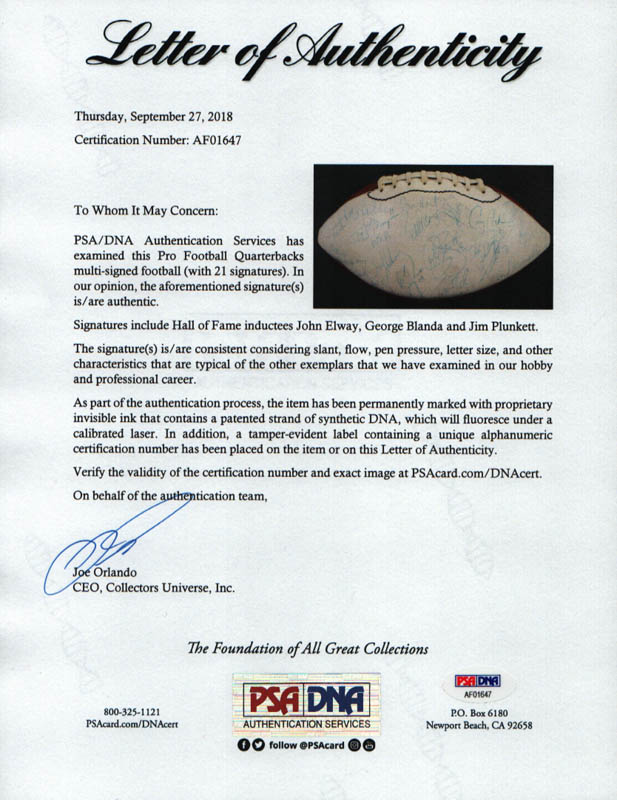 Image 3 for John Elway - Football Signed with co-signers - HFSID 254588