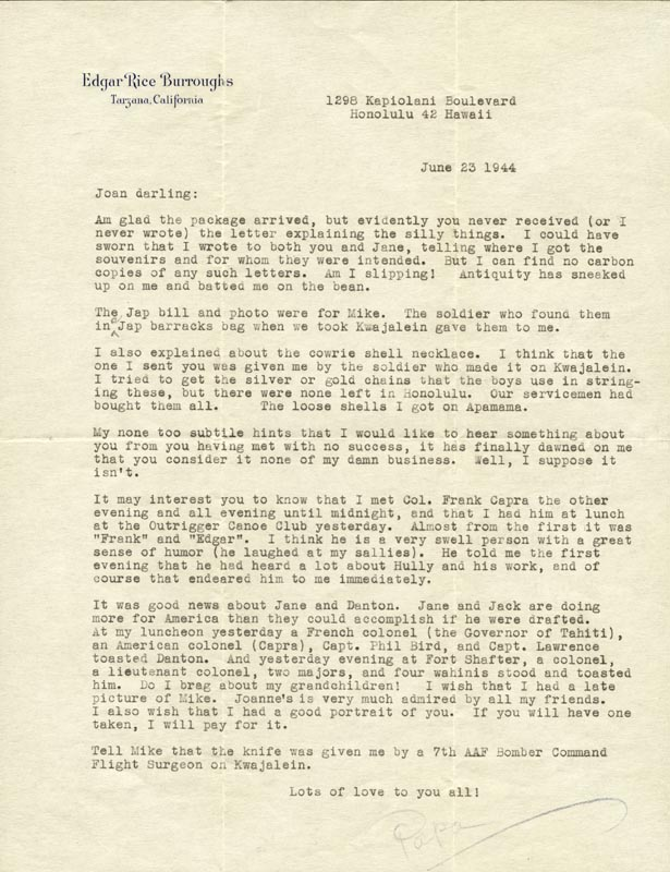 Image 1 for Edgar Rice Burroughs - Typed Letter Signed 06/23/1944 - HFSID 254612