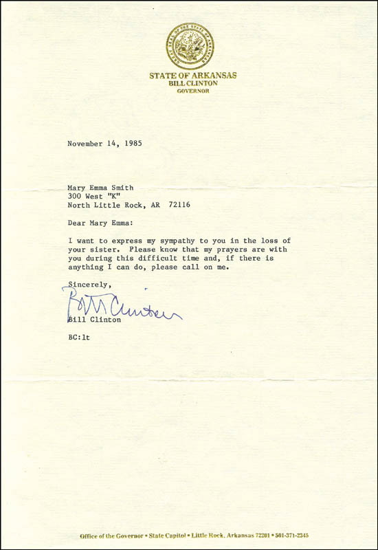 Image 1 for President William J. 'Bill' Clinton - Typed Letter Signed 11/14/1985 - HFSID 254642