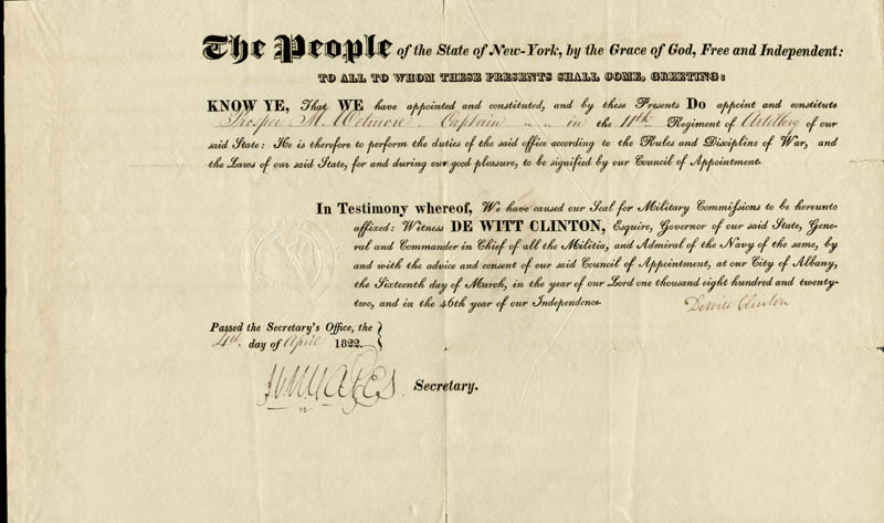 Image 1 for Governor Dewitt Clinton - Military Appointment Signed 03/16/1822 - HFSID 254661