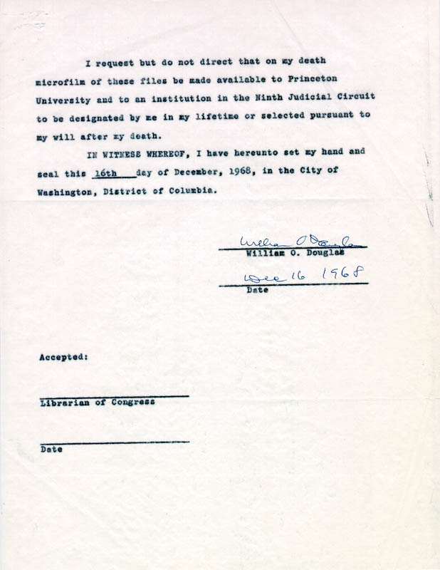 Image 1 for Associate Justice William O. Douglas - Document Signed 12/16/1968 - HFSID 254670