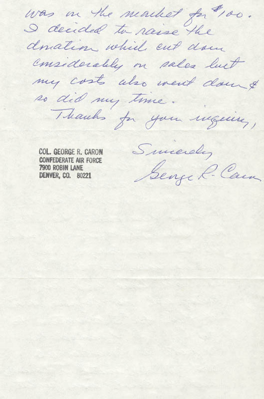 Image 1 for Enola Gay Crew (George R. Caron) - Autograph Letter Signed 07/21/1980 - HFSID 254674