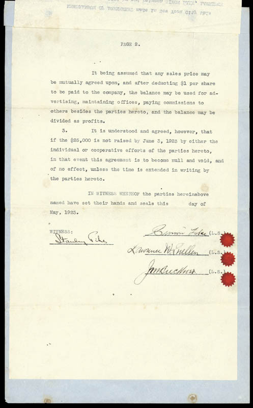 Image 1 for Simon Lake - Contract Signed 5/1923 co-signed by: Lawrence W. Luellen, Jam Buckner - HFSID 254689