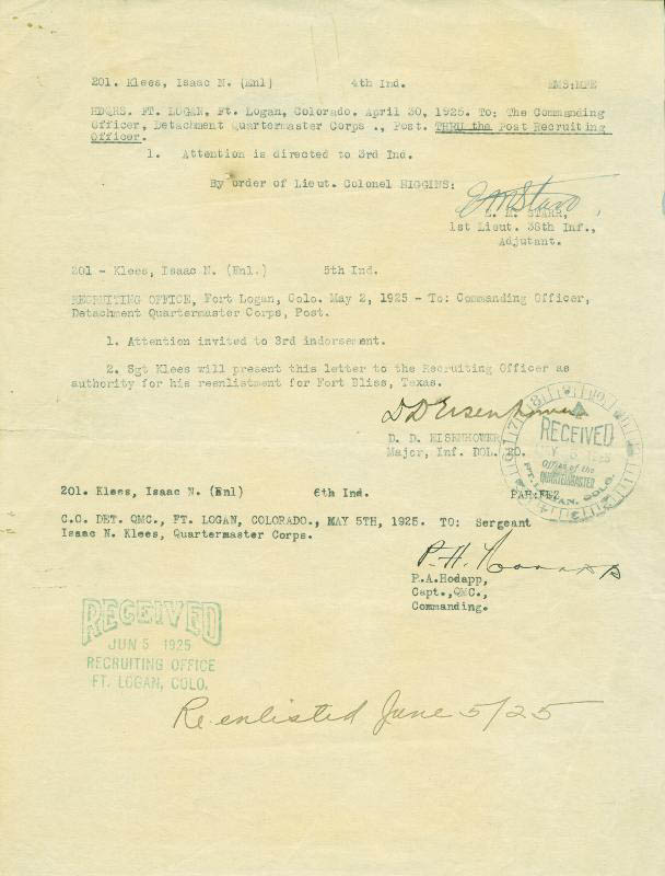 Image 1 for President Dwight D. Eisenhower - Document Signed 05/02/1925 - HFSID 254765