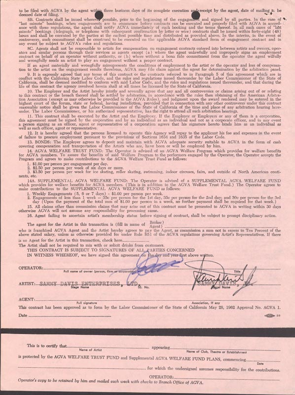 Image 1 for Sammy Davis Jr. - Contract Signed 01/11/1969 - HFSID 254830