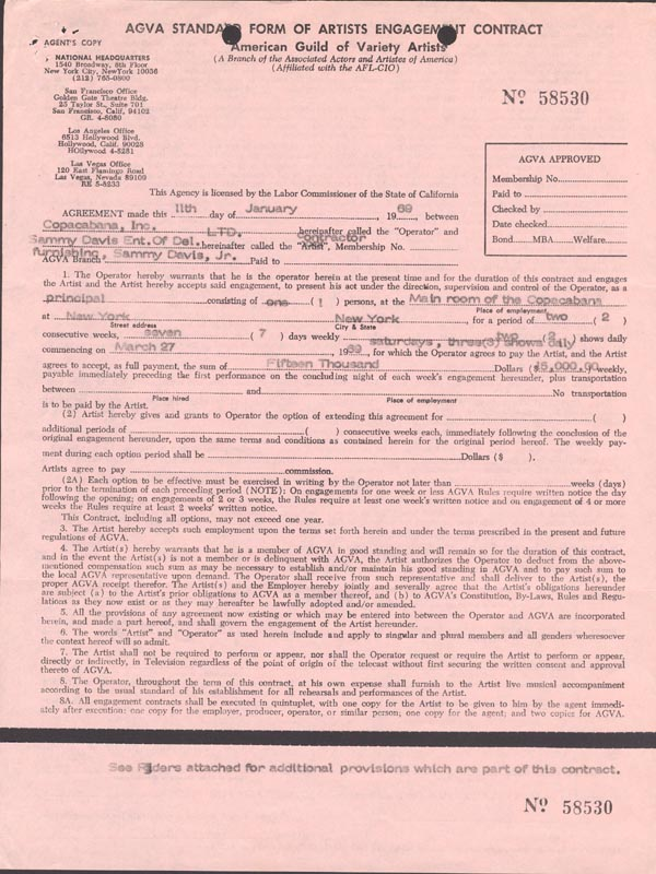 Image 3 for Sammy Davis Jr. - Contract Signed 01/11/1969 - HFSID 254830