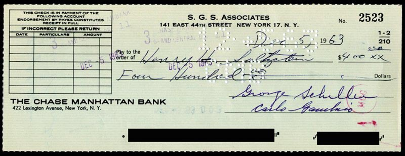 Image 1 for Carlo 'Don Carlo' Gambino - Autographed Signed Check 12/05/1963 co-signed by: Henry Saltzstein, George Schiller - HFSID 254873