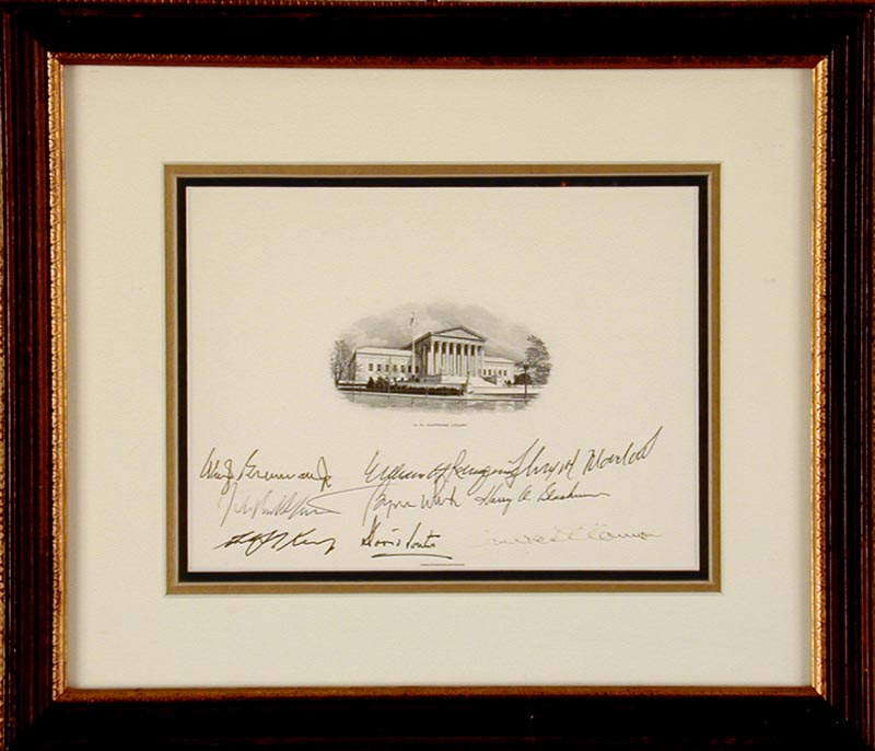 Image 1 for Chief Justice William H. Rehnquist - Supreme Court Engraving Signed with co-signers - HFSID 254893