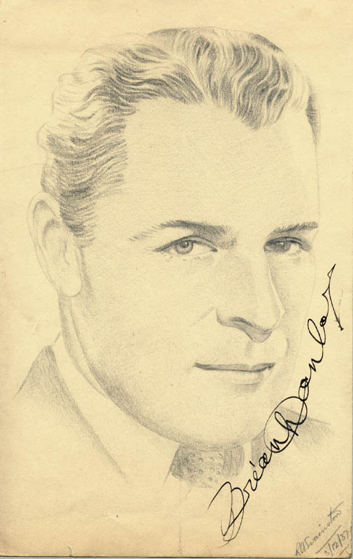 Image 1 for Brian Donlevy - Original Art Signed Circa 1937 co-signed by: R. A. Swainston - HFSID 254910