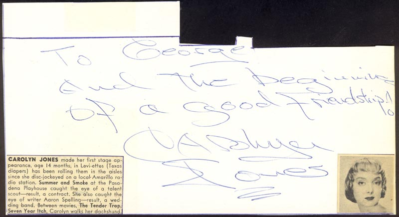 Image 1 for Carolyn Jones - Autograph Note Signed co-signed by: Lori Nelson - HFSID 25495