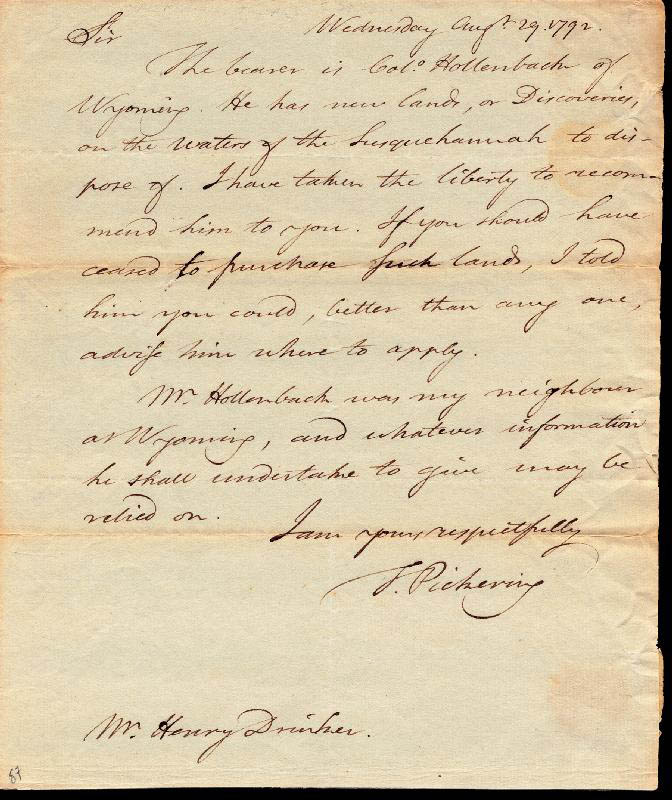 Image 1 for General Timothy Pickering - Autograph Letter Signed 08/29/1792 - HFSID 254954