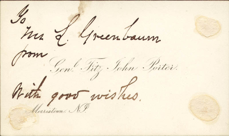 Image 3 for Major General Fitz John Porter - Autograph Note On Calling Card Signed 12/05/1883 - HFSID 254958