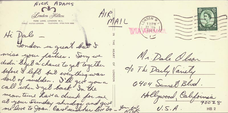 Image 1 for Nick 'The Rebel' Adams - Autograph Letter Signed Circa 1965 - HFSID 254974