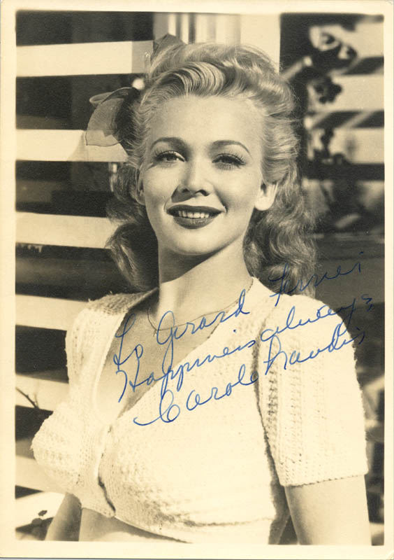Image 1 for Carole Landis - Autographed Signed Photograph - HFSID 255012