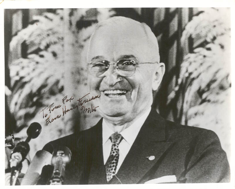 Image 1 for President Harry S Truman - Autographed Inscribed Photograph 09/23/1965 - HFSID 255400