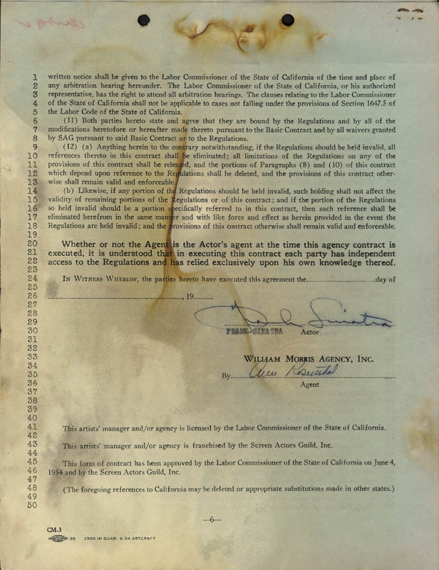 Image 1 for Frank Sinatra - Contract Signed 09/19/1955 - HFSID 255467