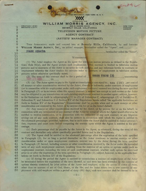 Image 3 for Frank Sinatra - Contract Signed 09/19/1955 - HFSID 255467