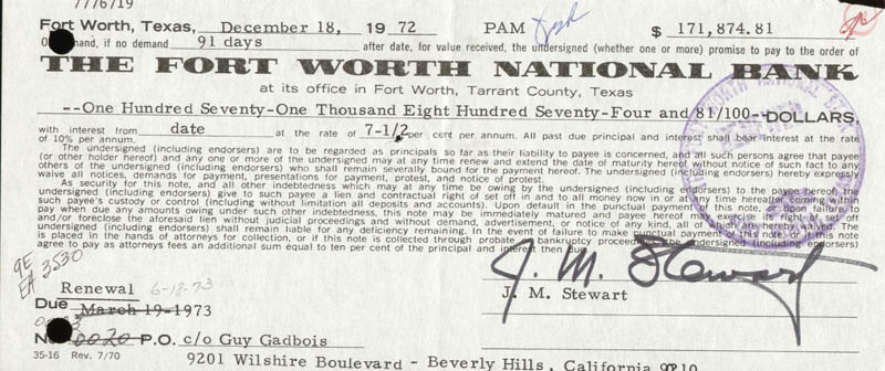Image 1 for James 'Jimmy' Stewart - Promissory Note Signed - HFSID 255548