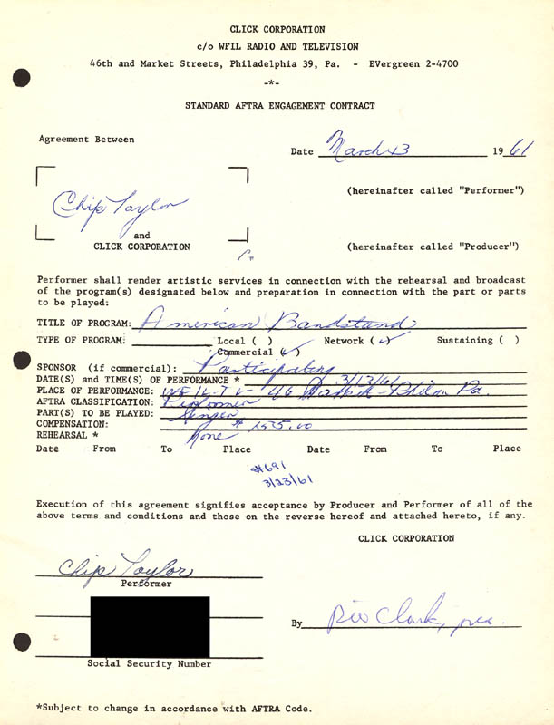 Image 1 for Dick Clark - Contract Signed 03/13/1961 co-signed by: Chip Taylor - HFSID 255580