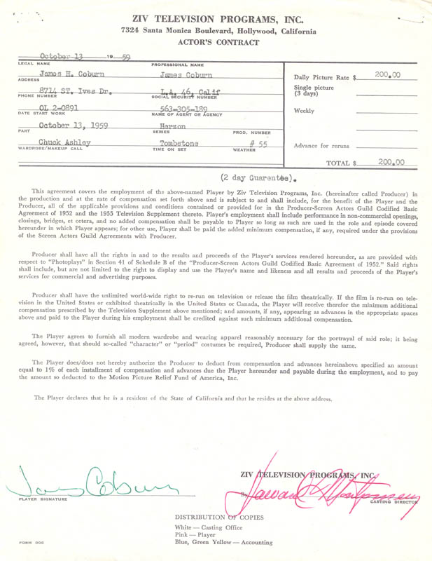Image 1 for James Coburn - Contract Signed 10/13/1959 - HFSID 255583