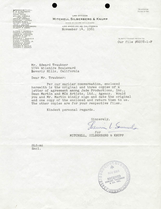 Image 3 for Dean Martin - Document Signed 11/16/1961 - HFSID 255603