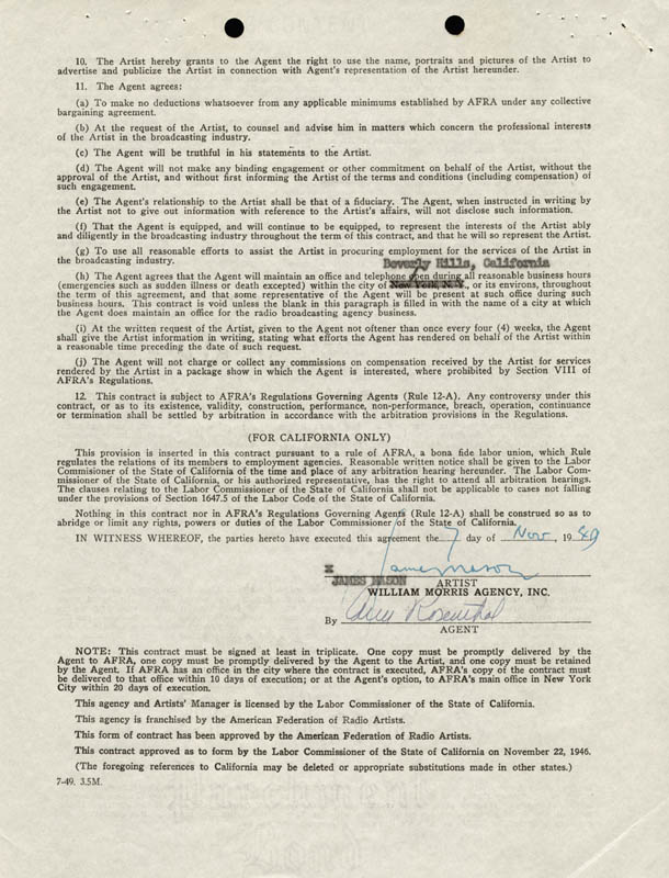 Image 1 for James Mason - Contract Signed 11/07/1949 - HFSID 255607
