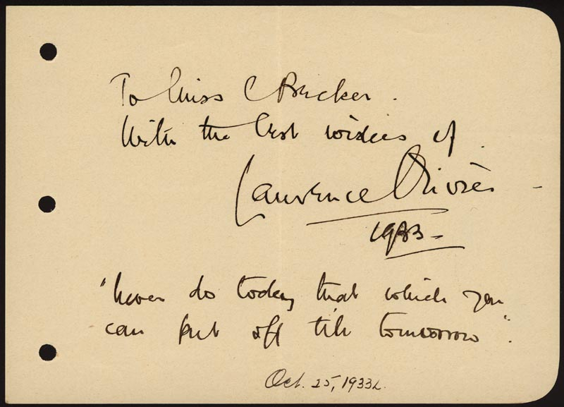Image 1 for Laurence Olivier - Autograph Quotation Signed 1933 - HFSID 255621