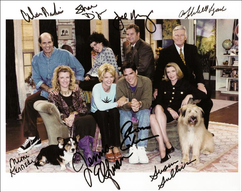 Image 1 for Dharma & Greg TV Cast - Autographed Signed Photograph co-signed by: Susan Sullivan, Mimi Kennedy, Alan Rachins, Jenna Elfman, Thomas Gibson - HFSID 255639