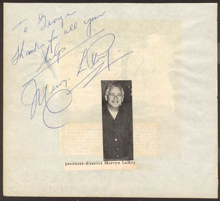 Image 1 for Mervyn Leroy - Autograph Note Signed - HFSID 25602