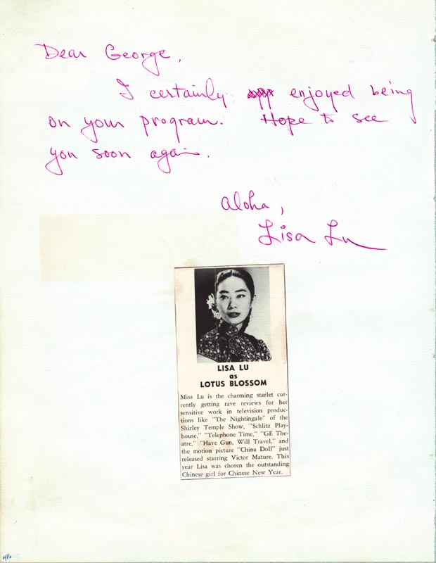 Image 1 for Lisa Lu - Autograph Note Signed co-signed by: Helen Barnhart, Larry Hays - HFSID 25633