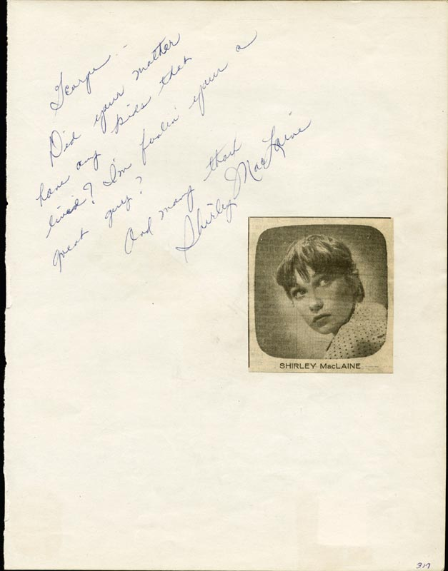 Image 1 for Shirley Maclaine - Autograph Note Signed - HFSID 25641