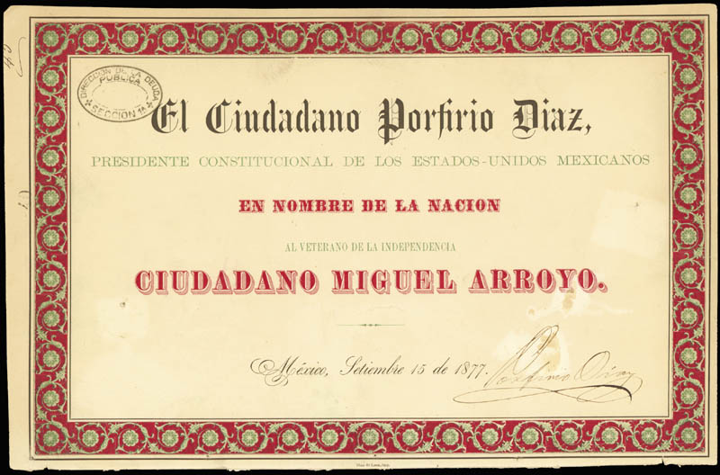 Image 1 for President Porfirio Diaz (Mexico) - Document Signed 09/15/1877 - HFSID 256867