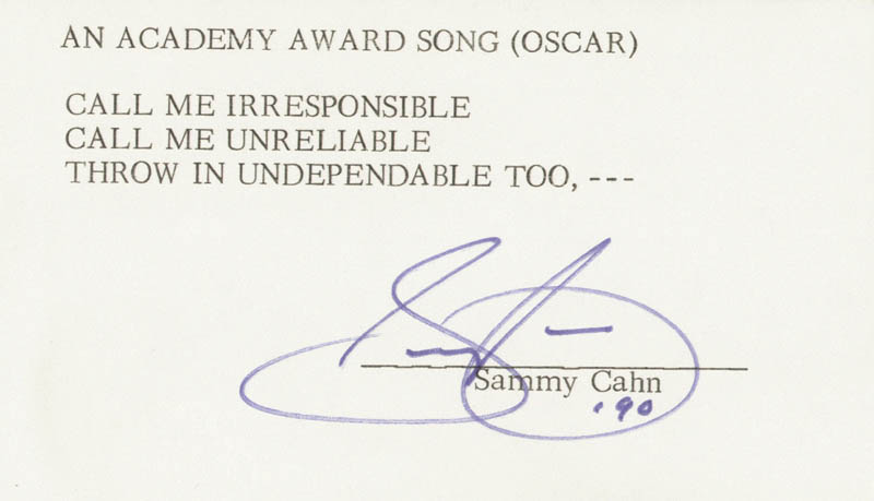 Image 1 for Sammy Cahn - Typed Lyric(s) Signed 1990 - HFSID 256932