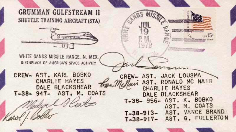 Image 1 for Ronald E. Mcnair - Special Cover Signed co-signed by: Colonel Karol J. Bobko, Colonel Jack Lousma, Captain Michael L. Coats - HFSID 256976