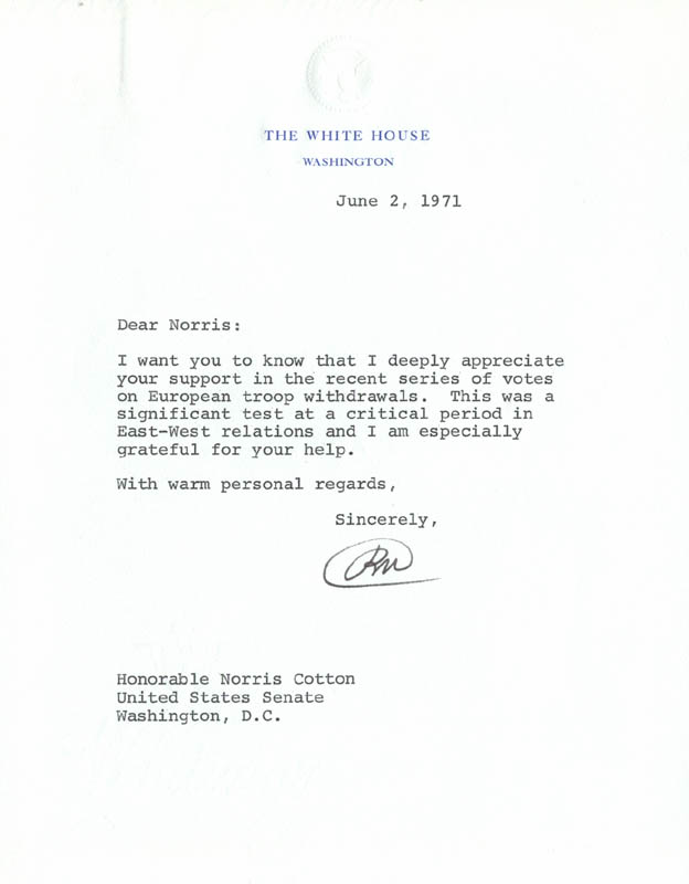 Image 1 for President Richard M. Nixon - Typed Letter Signed 06/02/1971 - HFSID 257076