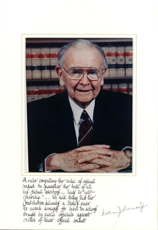 Image 1 for Associate Justice William J. Brennan Jr. - Manuscript Quotation Signed On Photo Mount - HFSID 257150