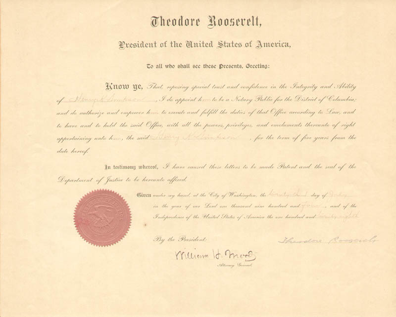 Image 1 for President Theodore Roosevelt - Civil Appointment Signed 07/23/1904 co-signed by: Associate Justice William H. Moody - HFSID 257164