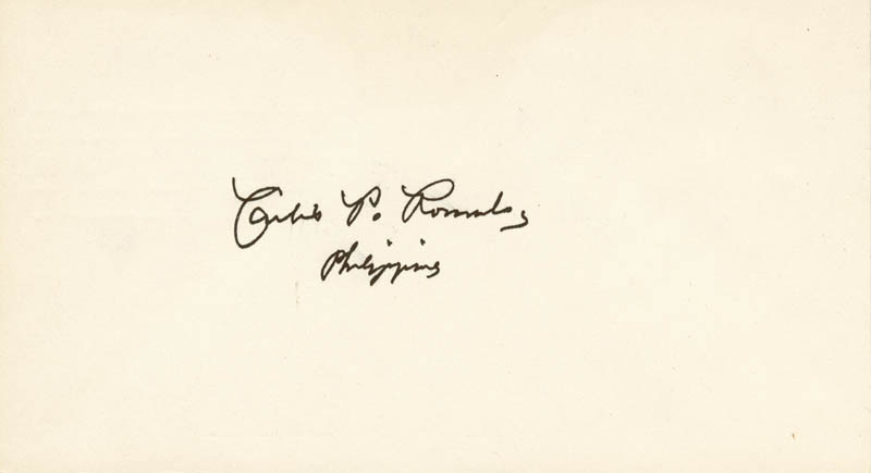 Image 1 for Carlos P. Romulo - Autograph - HFSID 257194