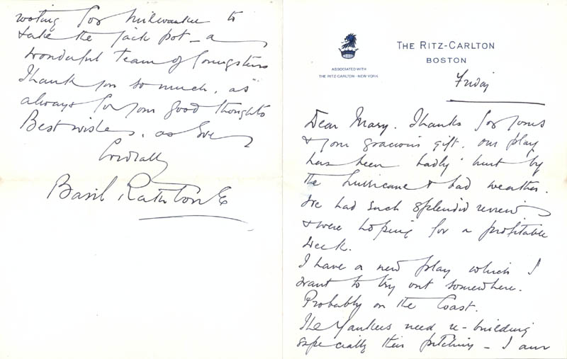 Image 1 for Basil Rathbone - Autograph Letter Signed 09/10/1954 - HFSID 257224