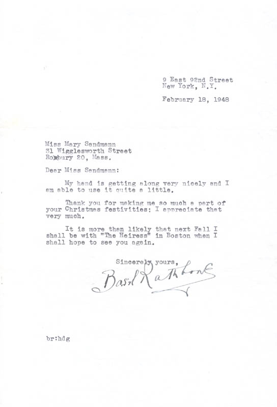 Image 1 for Basil Rathbone - Typed Letter Signed 02/18/1948 - HFSID 257234