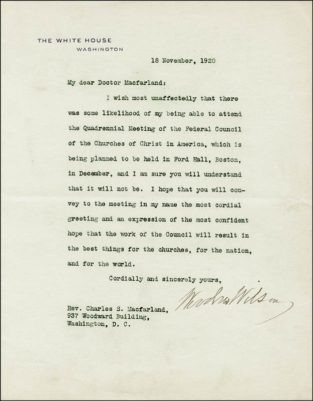 Image 1 for President Woodrow Wilson - Typed Letter Signed 11/18/1920 - HFSID 257257